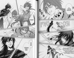 Action panels of Nakaba fighting off Caesar